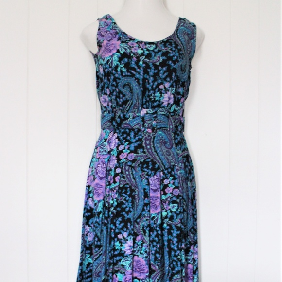 S. Roberts Dresses & Skirts - 1980's Floral Sleeveless Dress by S.Roberts Sz 7